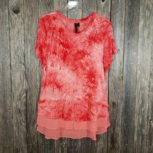 Allie & Rob Coral Orange Tie Dye Tunic Top Blouse